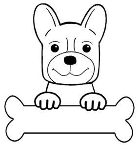 Un perro con un hueso para colorear