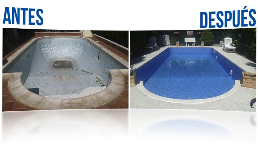 El antes y el después de una piscina reformada