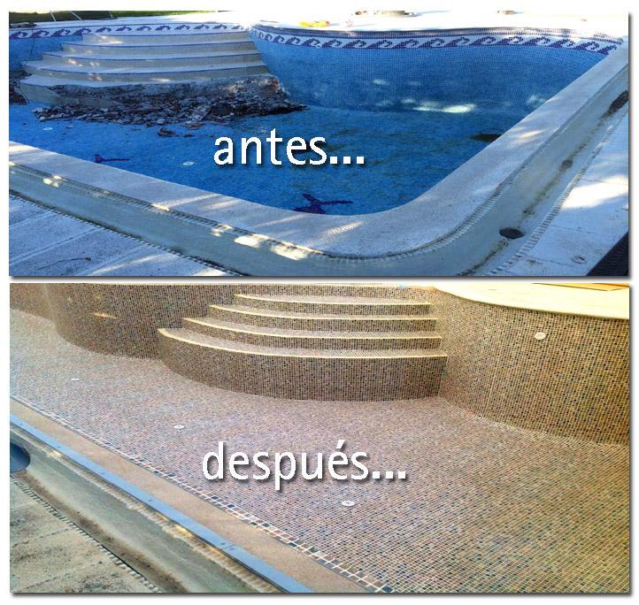 Una piscina antes y después de una reforma